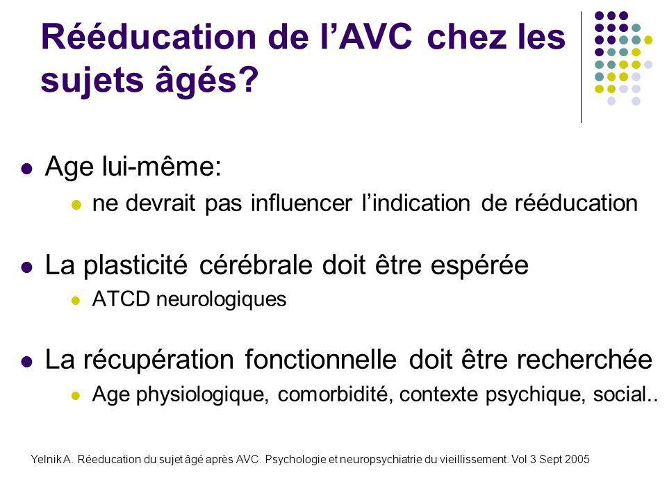 Rééducation de l'AVC chez les sujets âgés