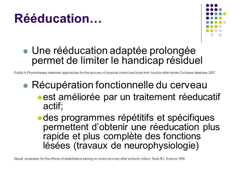 Rééducation… Une rééducation adaptée prolongée permet de limiter le handicap résiduel. Récupération fonctionnelle du cerveau.