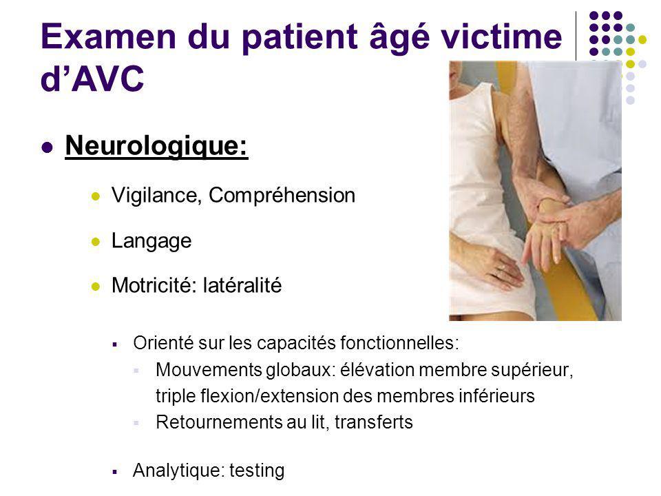 Examen du patient âgé victime d'AVC