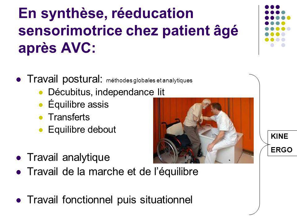 En synthèse, réeducation sensorimotrice chez patient âgé après AVC: