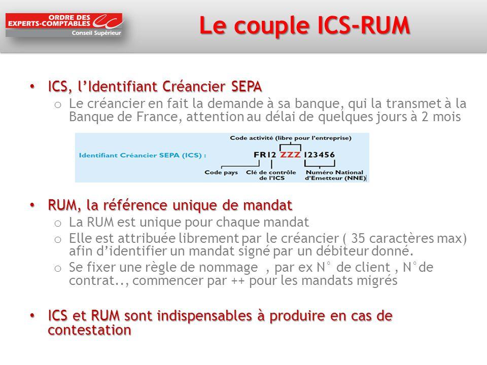 Le couple ICS-RUM ICS, l'Identifiant Créancier SEPA
