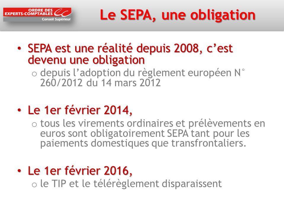Le SEPA, une obligation SEPA est une réalité depuis 2008, c'est devenu une obligation.