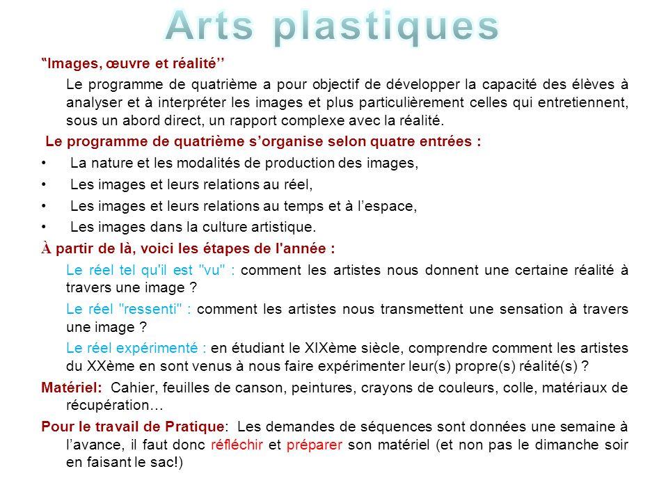 """Arts plastiques """"Images, œuvre et réalité''"""