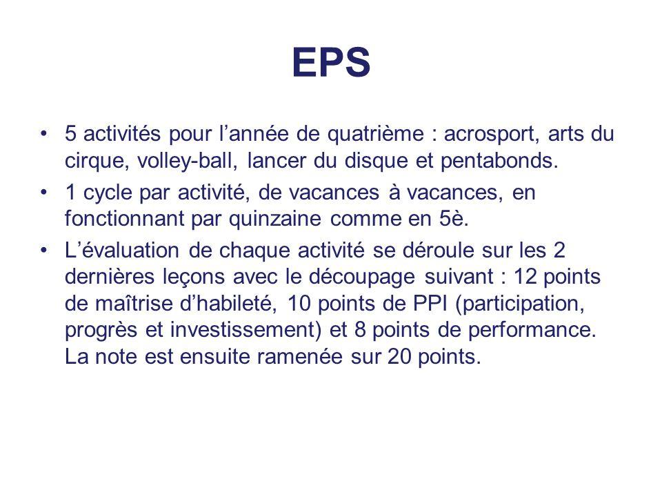 EPS 5 activités pour l'année de quatrième : acrosport, arts du cirque, volley-ball, lancer du disque et pentabonds.