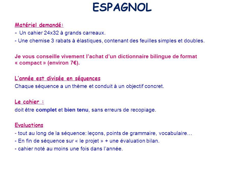 ESPAGNOL Matériel demandé: Un cahier 24x32 à grands carreaux.