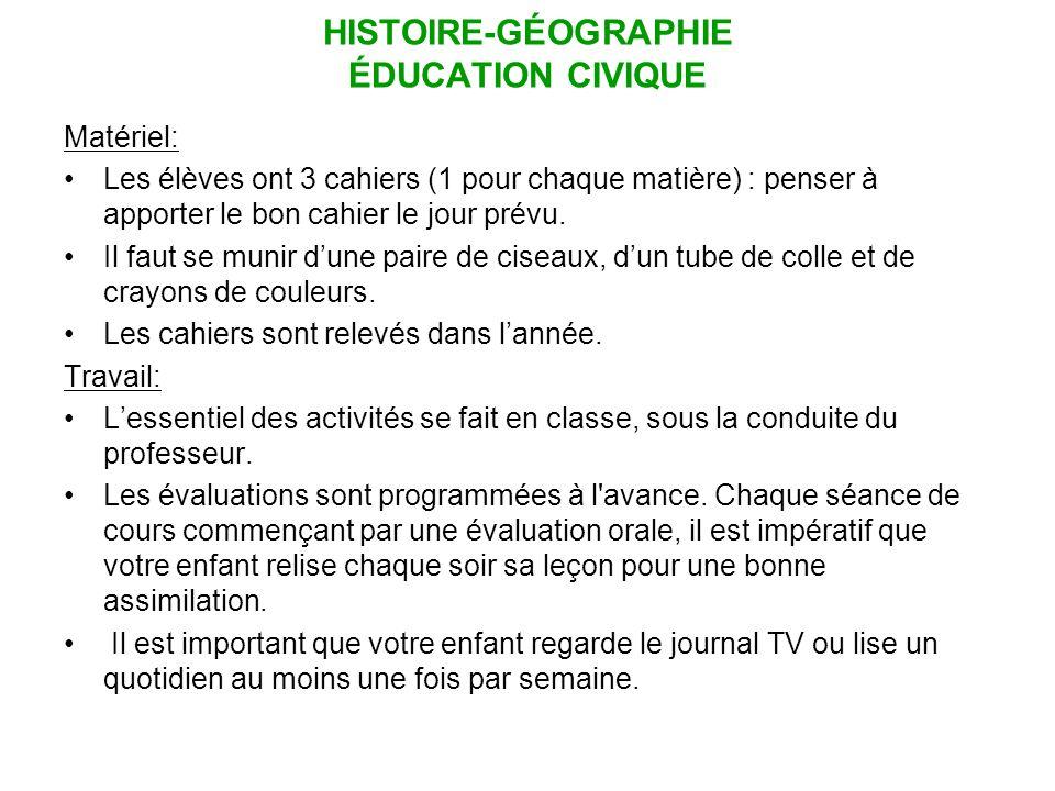 HISTOIRE-GÉOGRAPHIE ÉDUCATION CIVIQUE