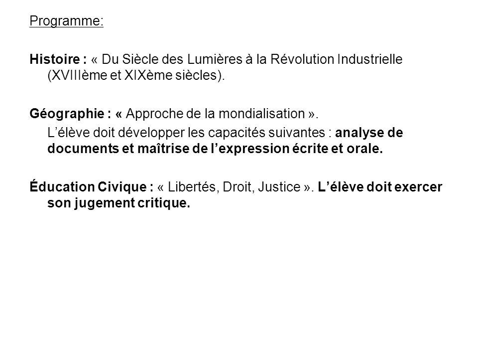 Programme: Histoire : « Du Siècle des Lumières à la Révolution Industrielle (XVIIIème et XIXème siècles).
