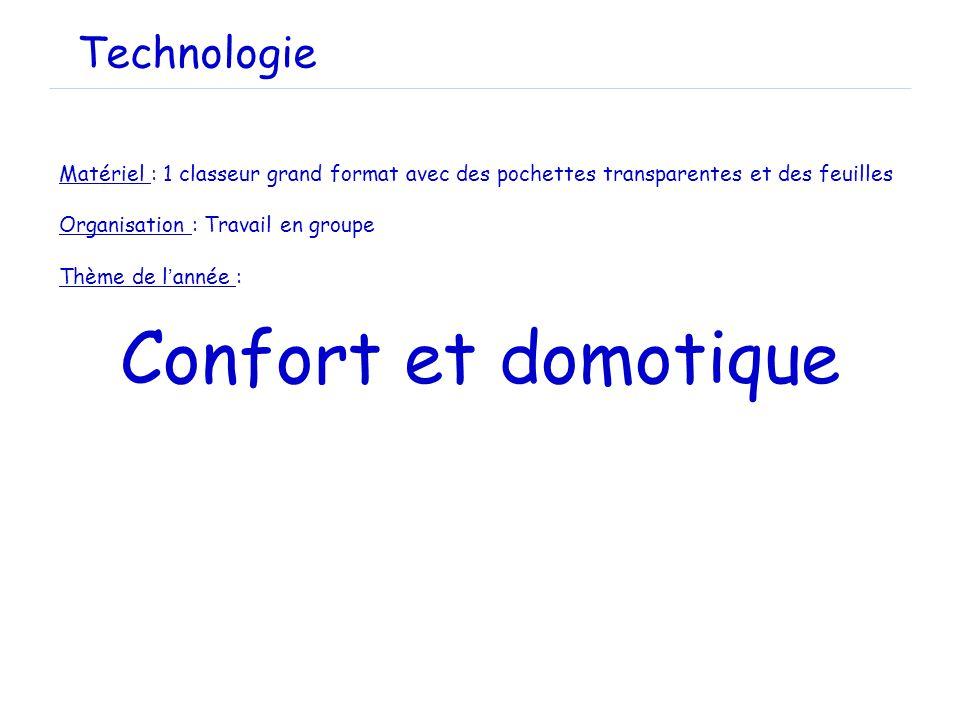 Technologie Matériel : 1 classeur grand format avec des pochettes transparentes et des feuilles. Organisation : Travail en groupe.