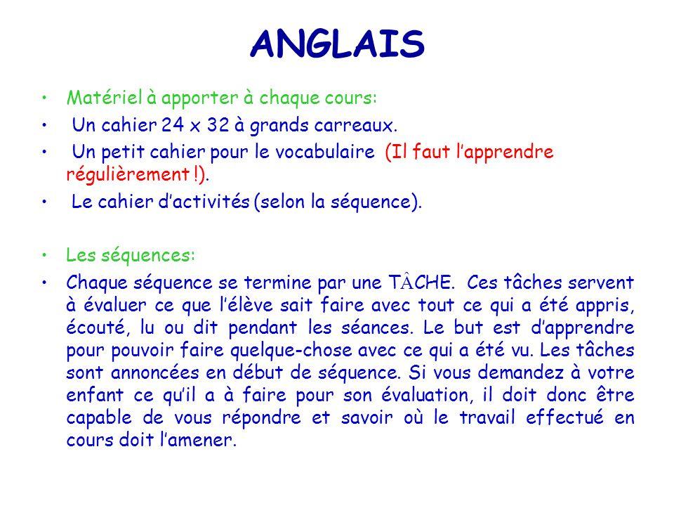 ANGLAIS Matériel à apporter à chaque cours: