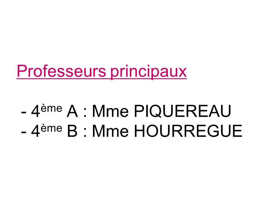 Professeurs principaux - 4ème A : Mme PIQUEREAU - 4ème B : Mme HOURREGUE