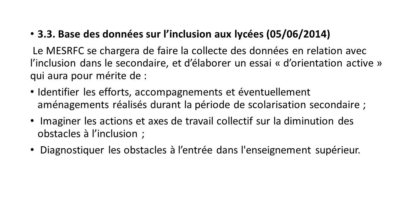 3.3. Base des données sur l'inclusion aux lycées (05/06/2014)