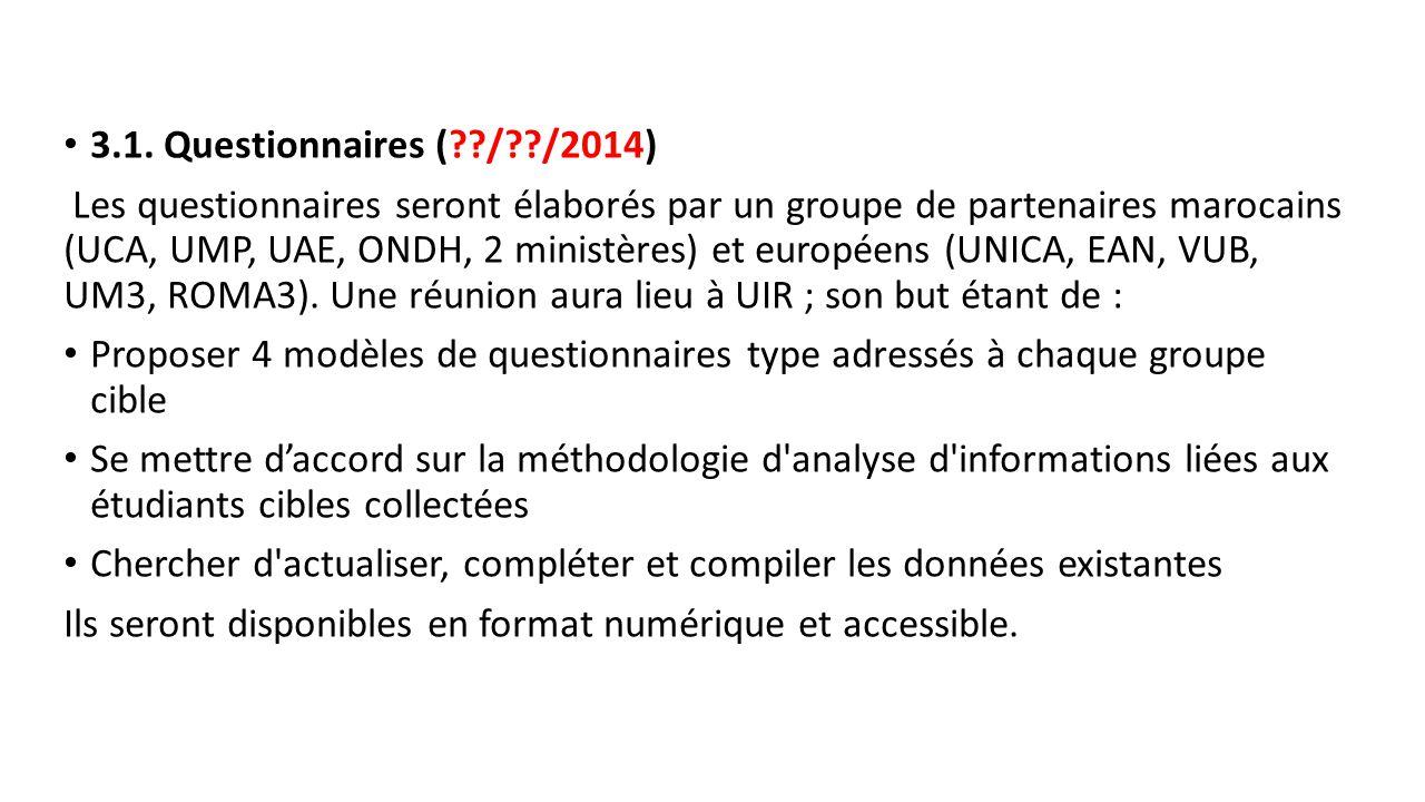 3.1. Questionnaires ( / /2014)