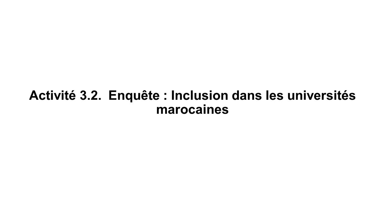 Activité 3.2. Enquête : Inclusion dans les universités marocaines