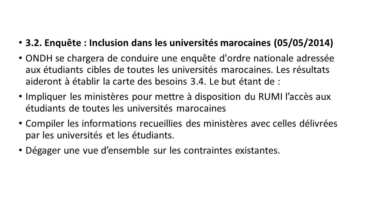 3.2. Enquête : Inclusion dans les universités marocaines (05/05/2014)