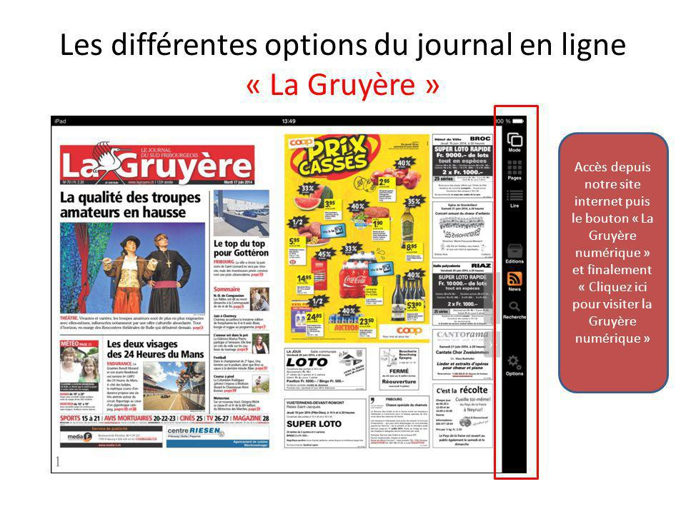 Les différentes options du journal en ligne « La Gruyère »