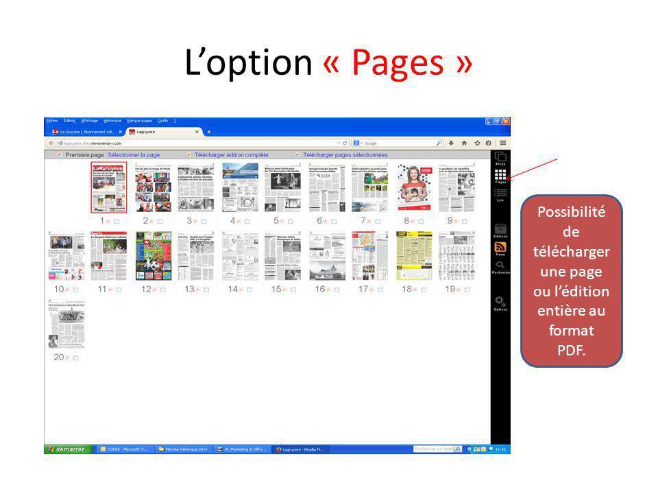 L'option « Pages » Possibilité de télécharger une page ou l'édition entière au format PDF.