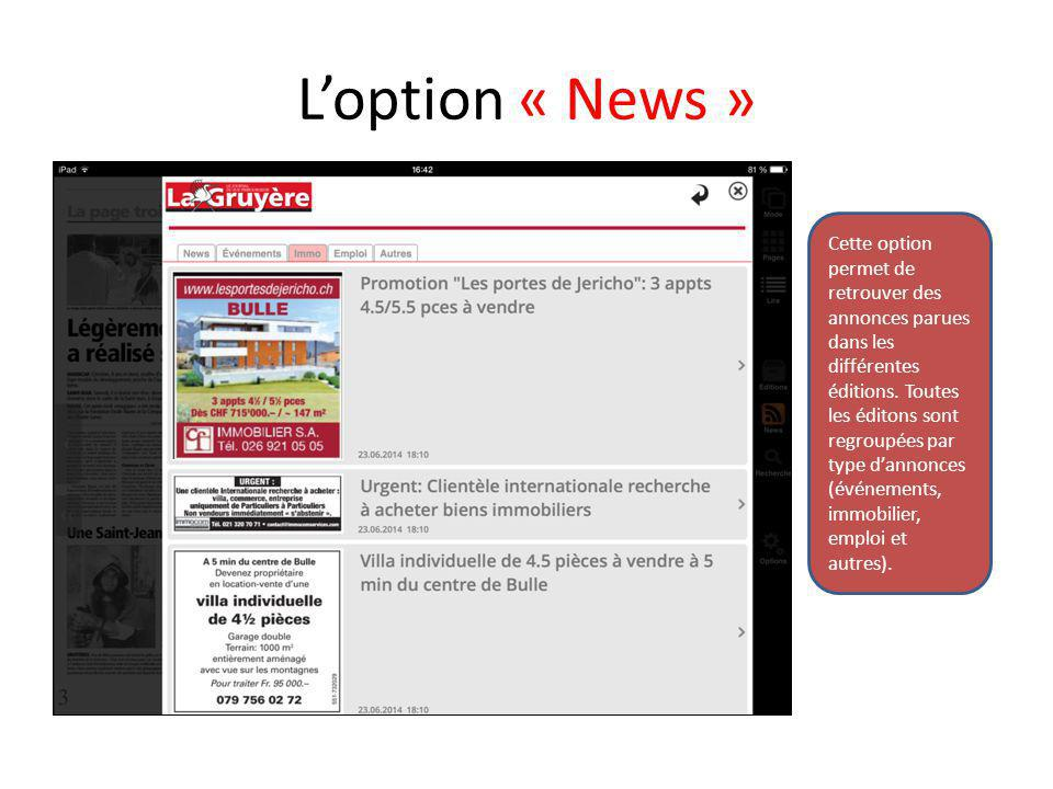 L'option « News »
