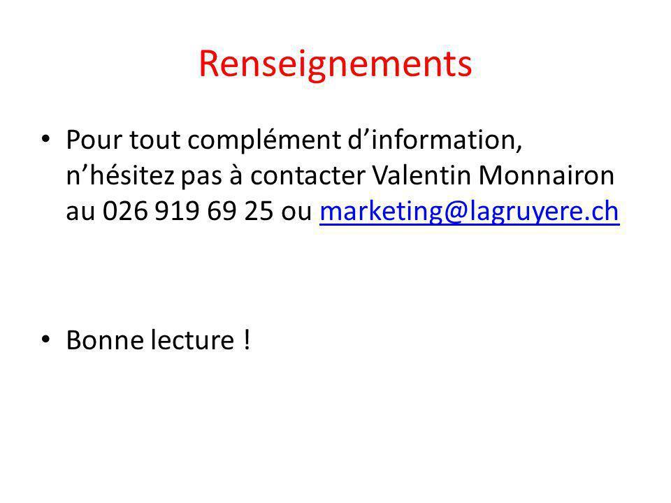 Renseignements Pour tout complément d'information, n'hésitez pas à contacter Valentin Monnairon au 026 919 69 25 ou marketing@lagruyere.ch.