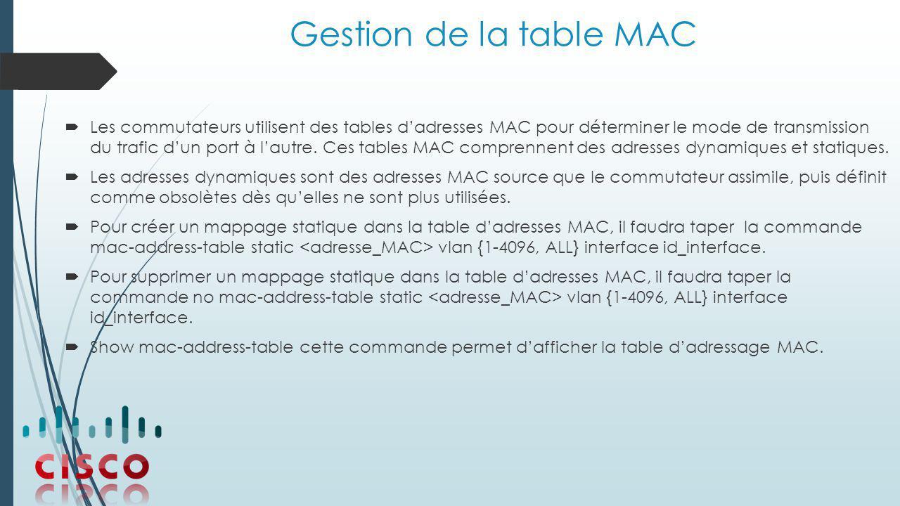 Gestion de la table MAC