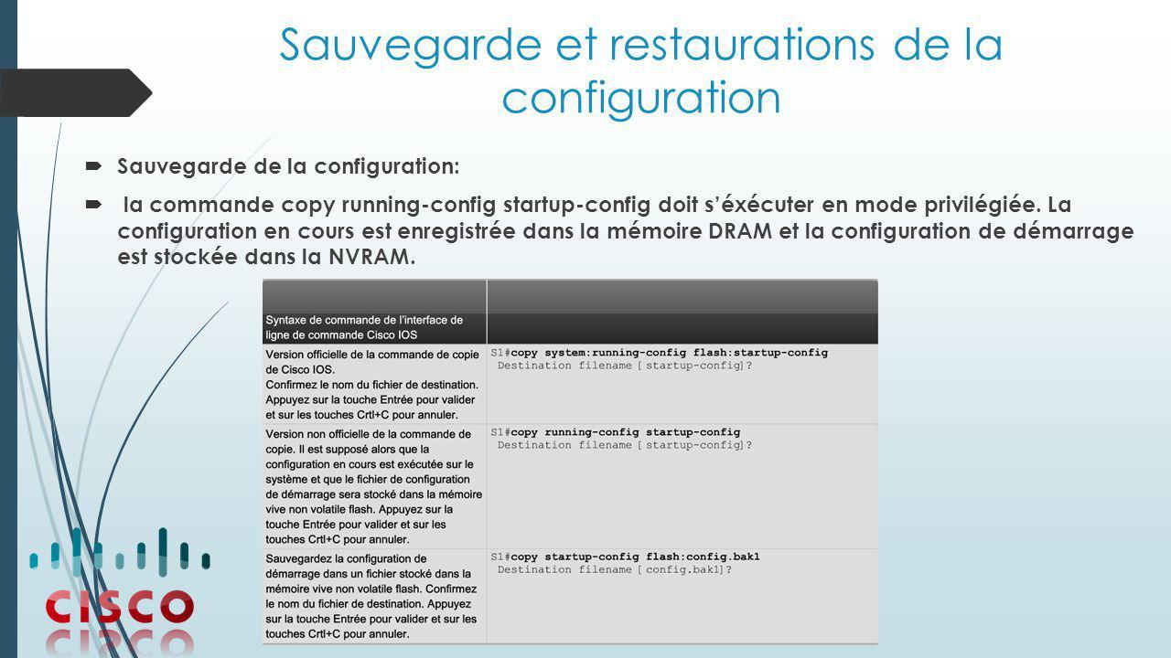 Sauvegarde et restaurations de la configuration