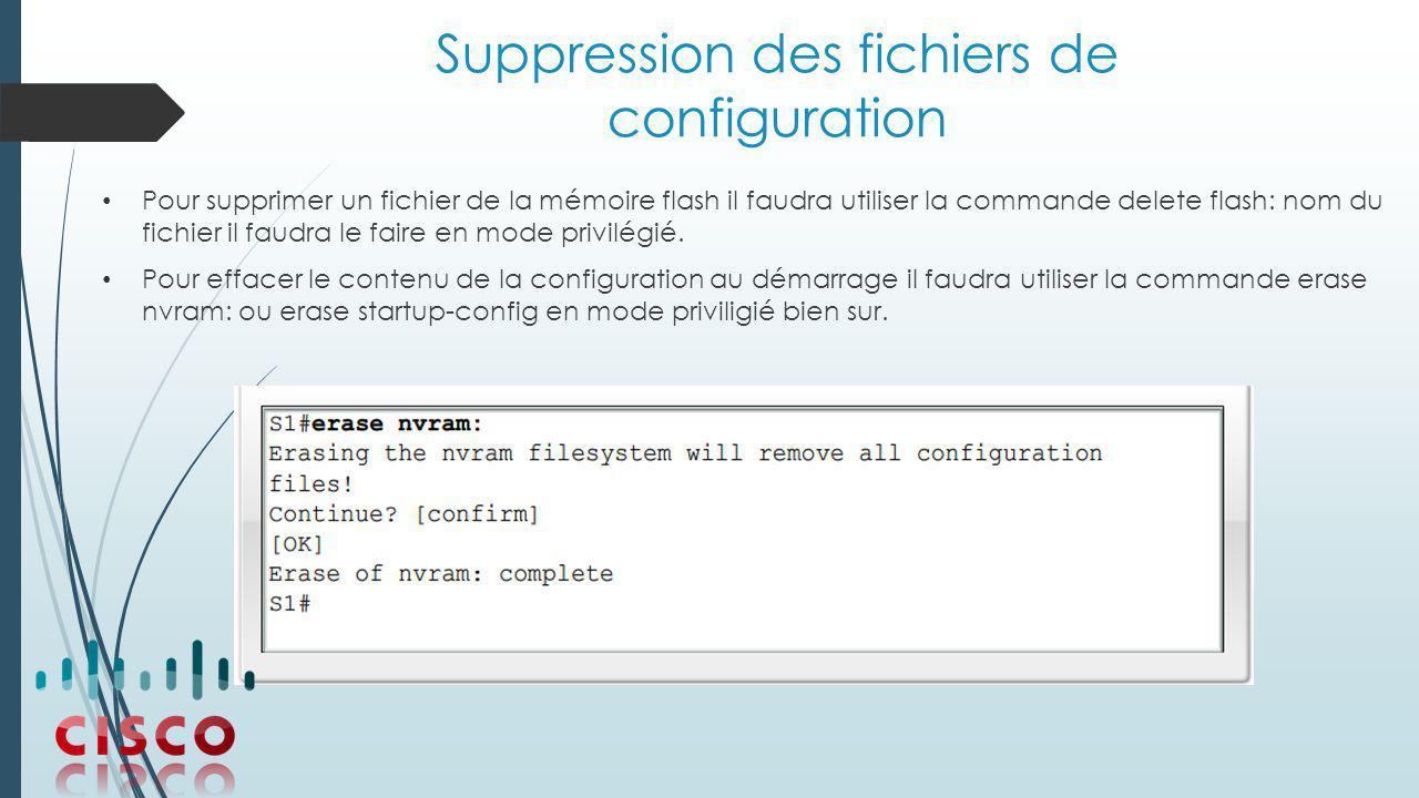 Suppression des fichiers de configuration