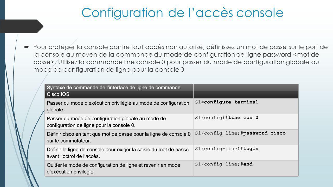 Configuration de l'accès console