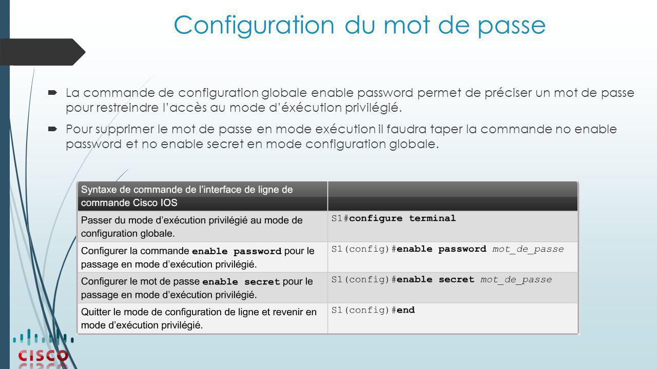 Configuration du mot de passe