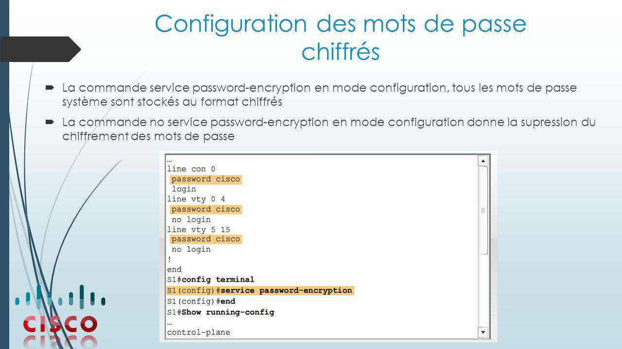 Configuration des mots de passe chiffrés