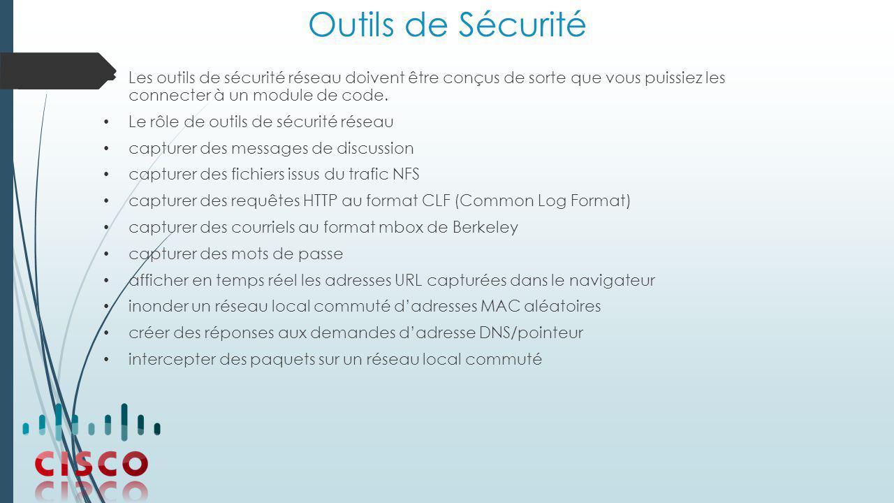 Outils de Sécurité Les outils de sécurité réseau doivent être conçus de sorte que vous puissiez les connecter à un module de code.