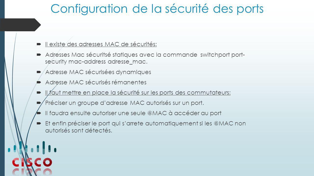 Configuration de la sécurité des ports