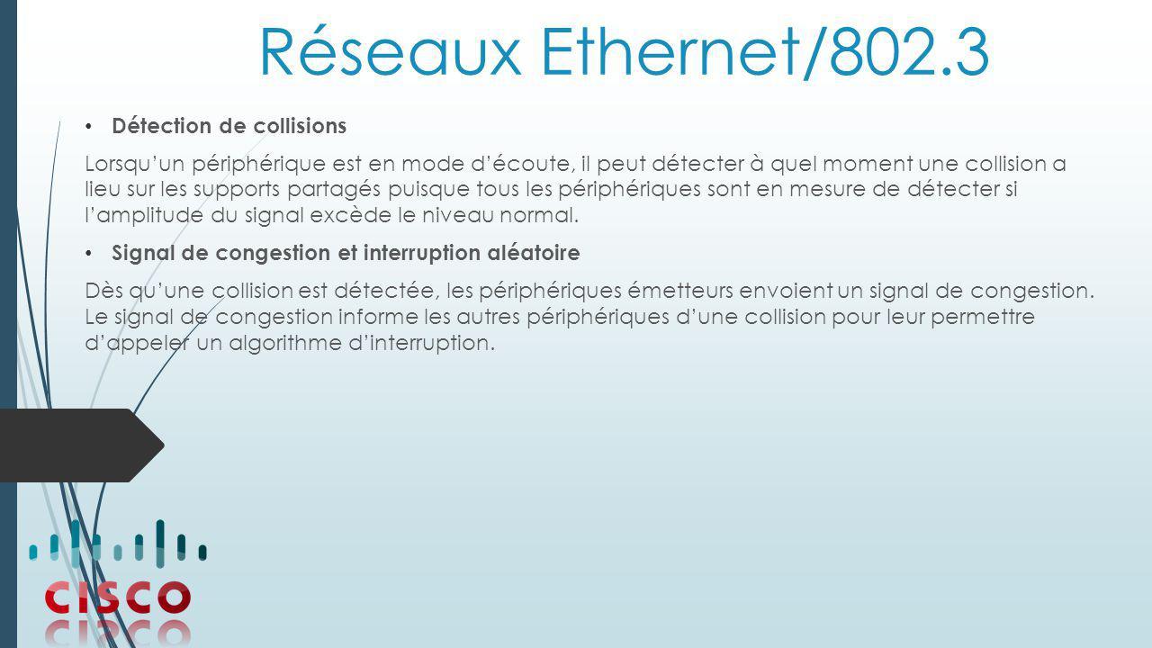 Réseaux Ethernet/802.3 Détection de collisions