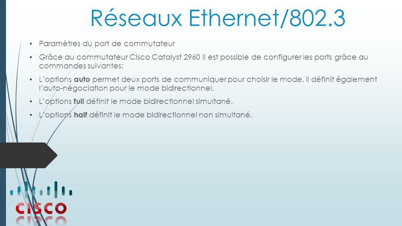 Réseaux Ethernet/802.3 Paramètres du port de commutateur