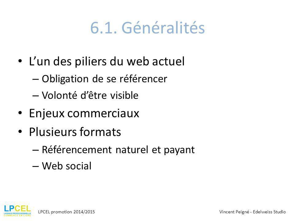 6.1. Généralités L'un des piliers du web actuel Enjeux commerciaux