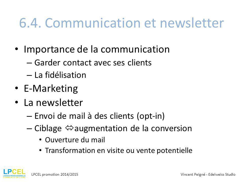 6.4. Communication et newsletter