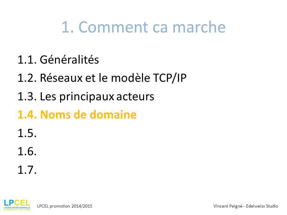 1. Comment ca marche 1.1. Généralités 1.2. Réseaux et le modèle TCP/IP 1.3. Les principaux acteurs 1.4. Noms de domaine 1.5. 1.6. 1.7.