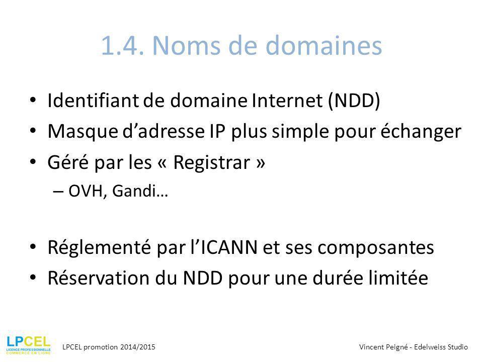 1.4. Noms de domaines Identifiant de domaine Internet (NDD)