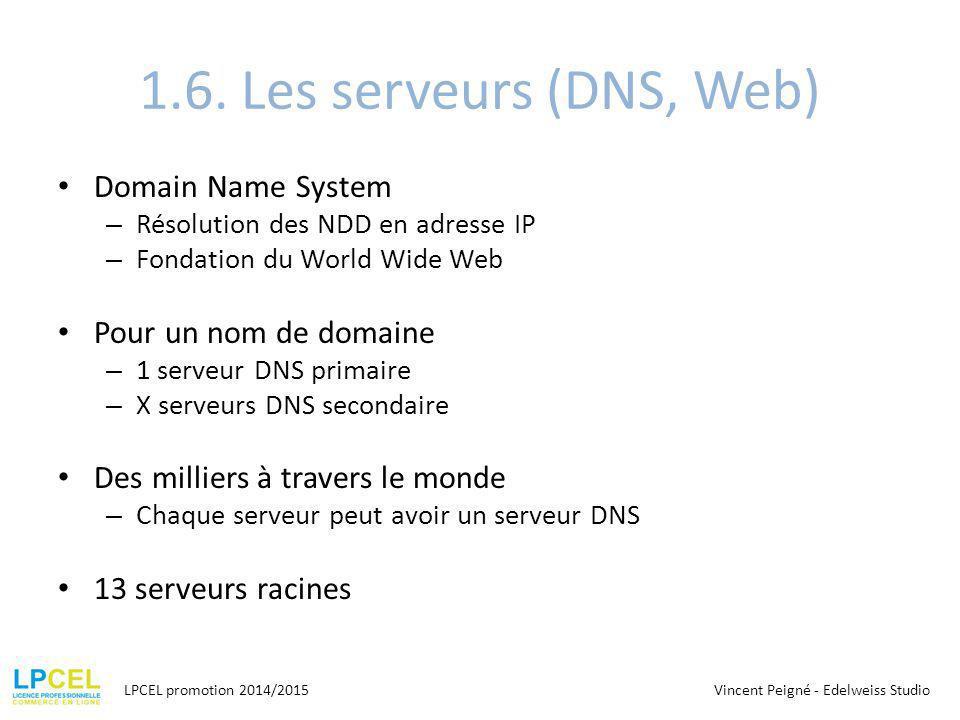 1.6. Les serveurs (DNS, Web) Domain Name System Pour un nom de domaine