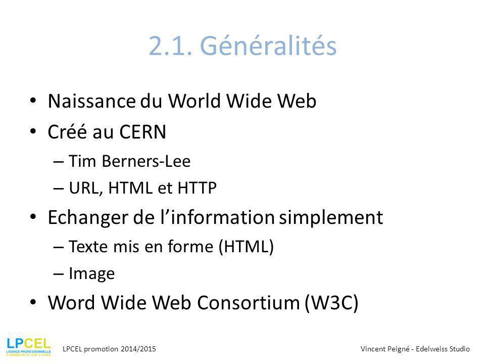 2.1. Généralités Naissance du World Wide Web Créé au CERN