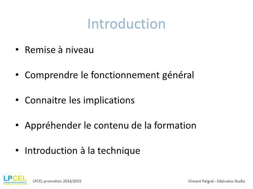 Introduction Remise à niveau Comprendre le fonctionnement général