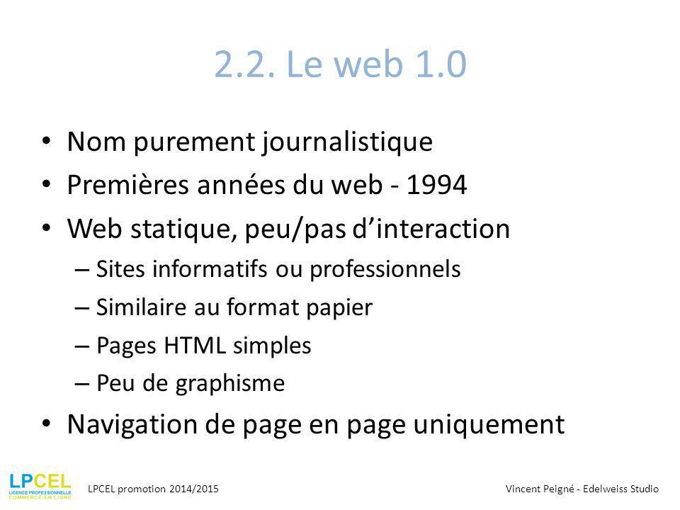 2.2. Le web 1.0 Nom purement journalistique