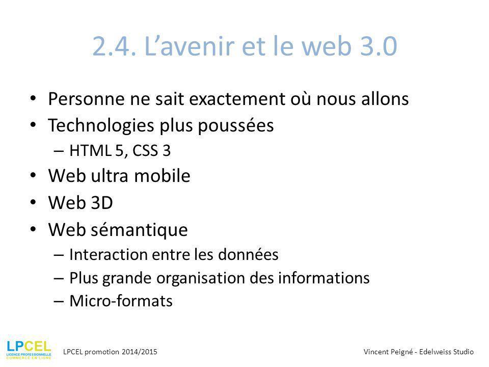 2.4. L'avenir et le web 3.0 Personne ne sait exactement où nous allons