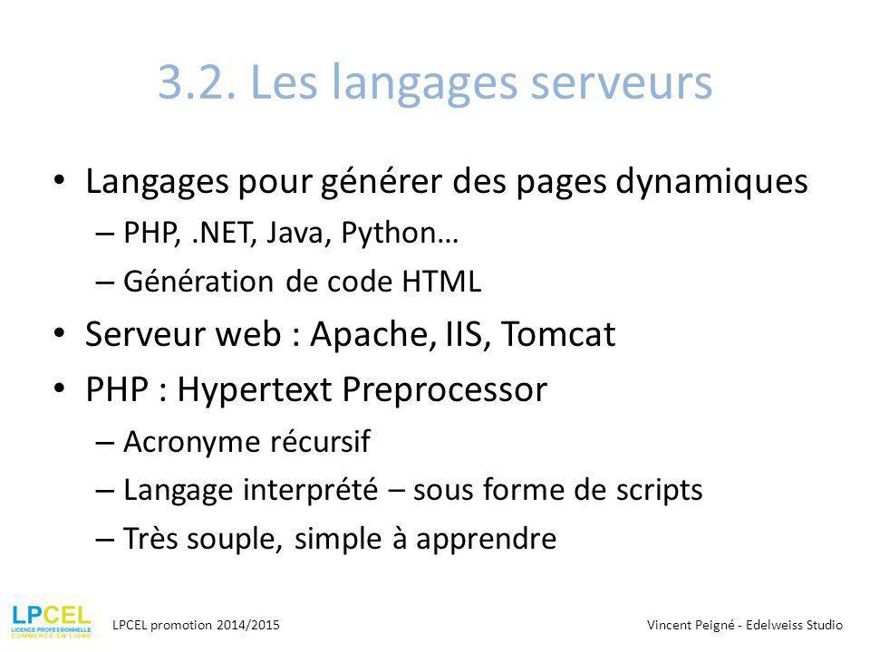 3.2. Les langages serveurs Langages pour générer des pages dynamiques