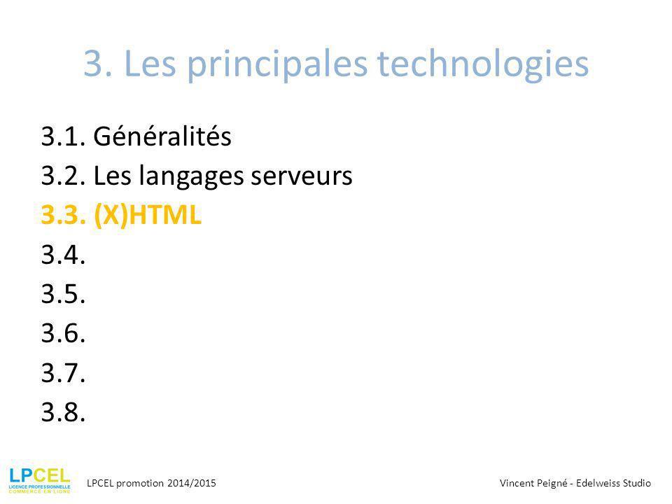 3. Les principales technologies
