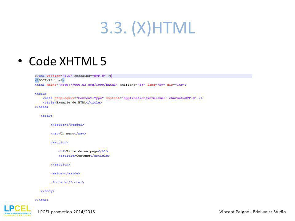 3.3. (X)HTML Code XHTML 5 LPCEL promotion 2014/2015