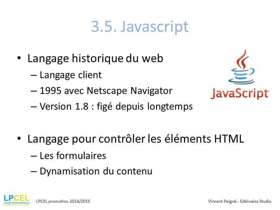 3.5. Javascript Langage historique du web