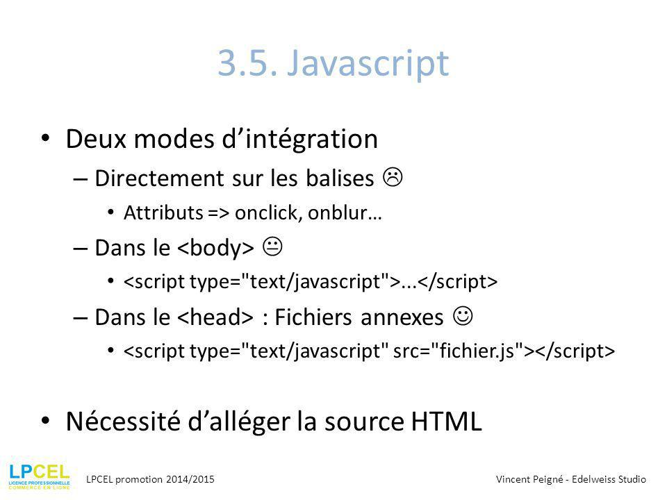 3.5. Javascript Deux modes d'intégration