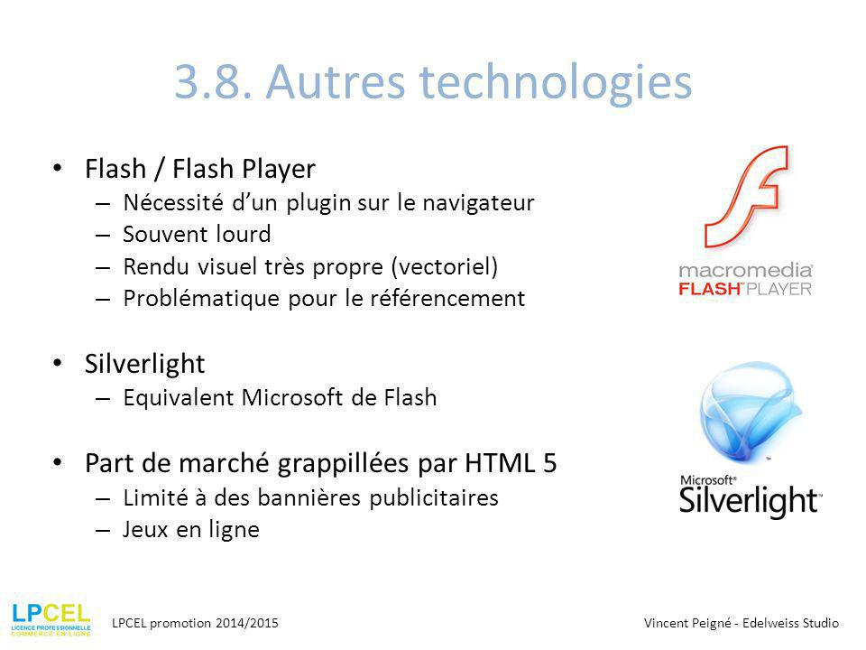 3.8. Autres technologies Flash / Flash Player Silverlight