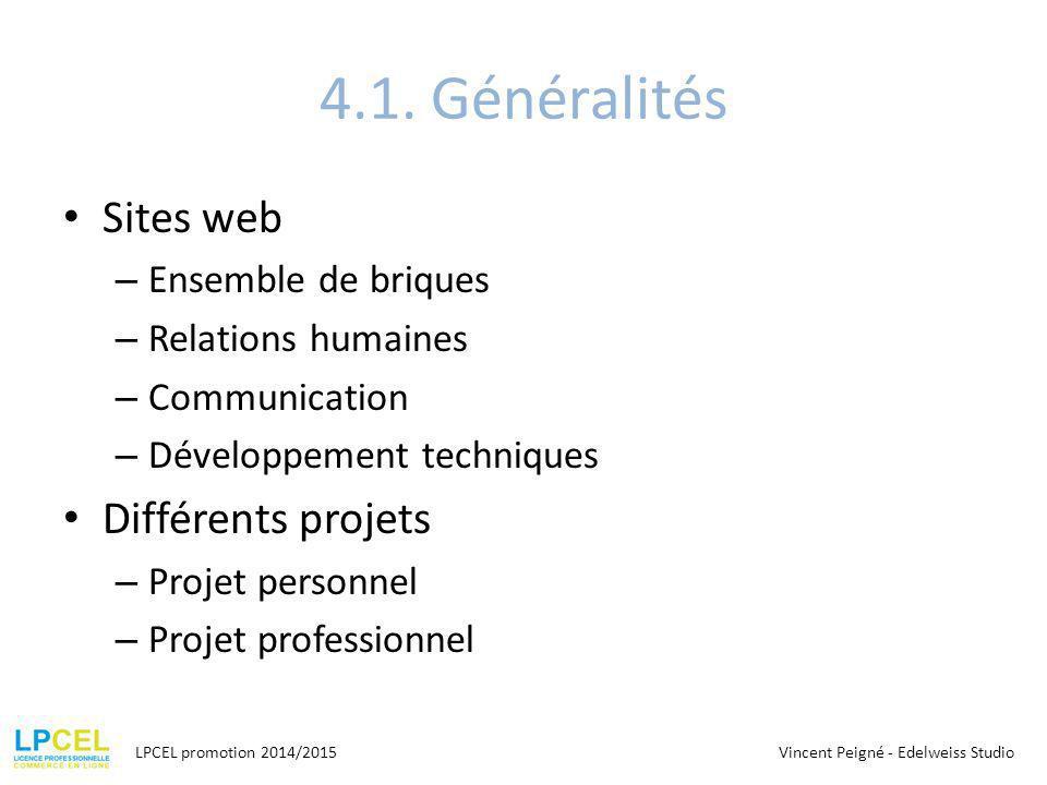 4.1. Généralités Sites web Différents projets Ensemble de briques