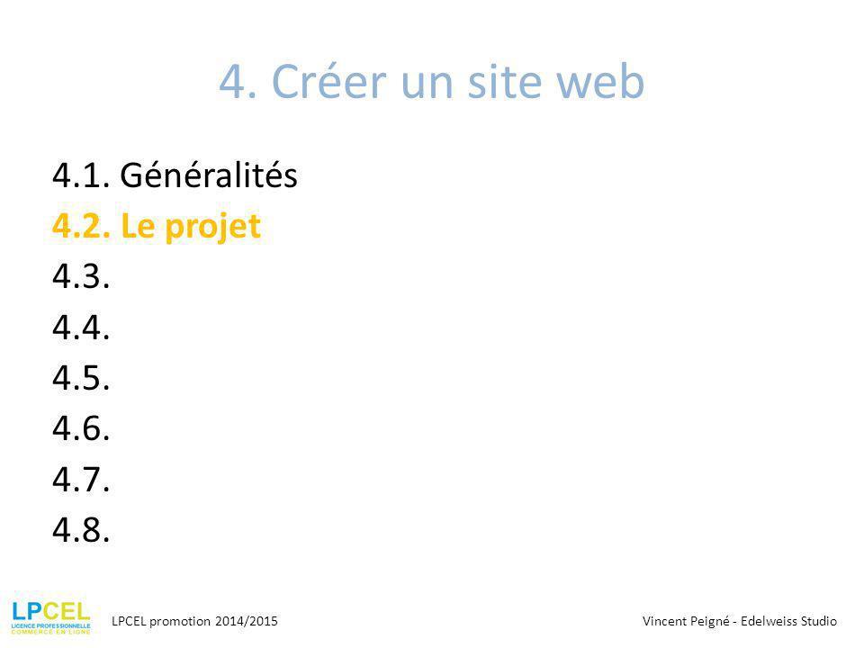 4. Créer un site web 4.1. Généralités 4.2. Le projet 4.3. 4.4. 4.5. 4.6. 4.7. 4.8. LPCEL promotion 2014/2015.