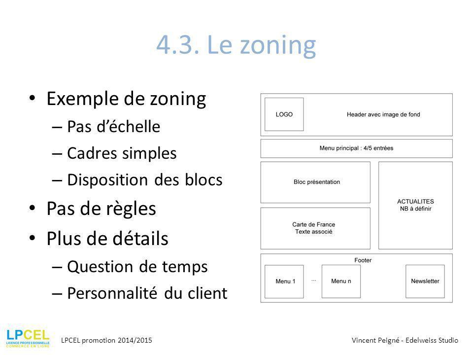 4.3. Le zoning Exemple de zoning Pas de règles Plus de détails